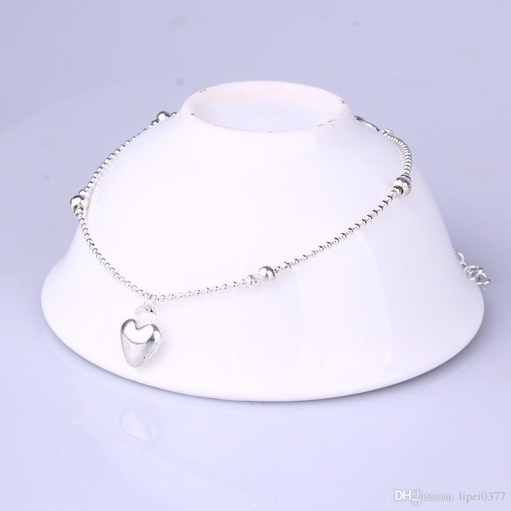 Factory direct sale Silver foot ornaments Women simply love peach heart beads were foot chain