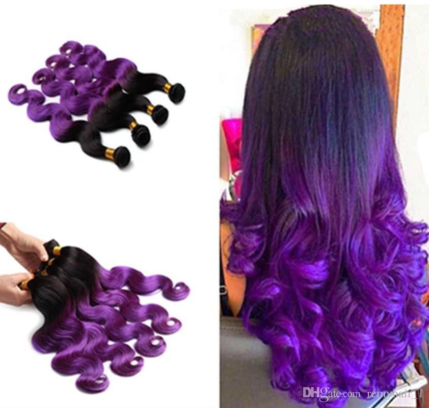 Cheap 3 Bundles Peruvian Hair Bundles Purple Ombre Body Wave Hair