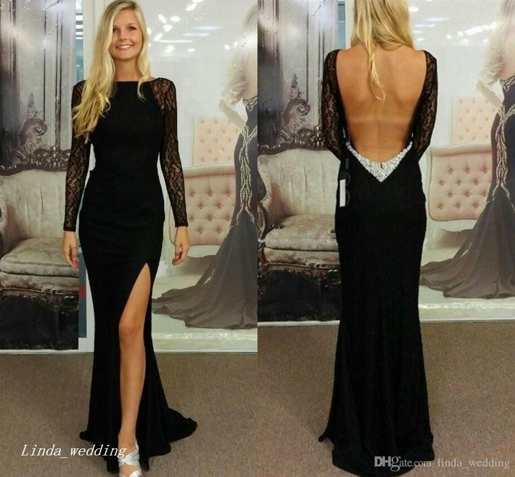 2019 nero maniche lunghe vestito da promenade sexy spacco laterale in pizzo aperto indietro vestito da occasione speciale abito da sera da sera plus size abiti da festa