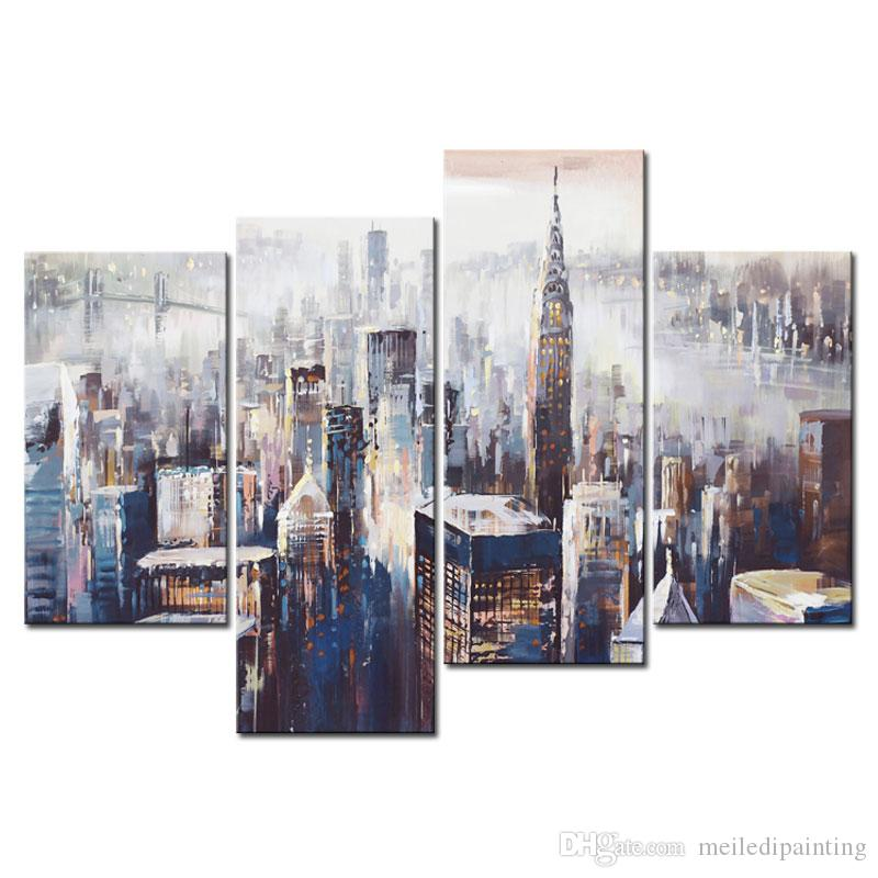 4 Panels Canvas Paintings Wall Art Colorful City Abstract Painting Prints on Canvas for Home Decoration with Wooden Framed Ready to Hang