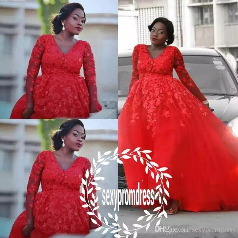 Abiti da sposa rosso abito da ballo in pizzo con scollo a V maniche lunghe abiti da sposa abito da ballo in tulle plus size donna abiti da sposa su misura