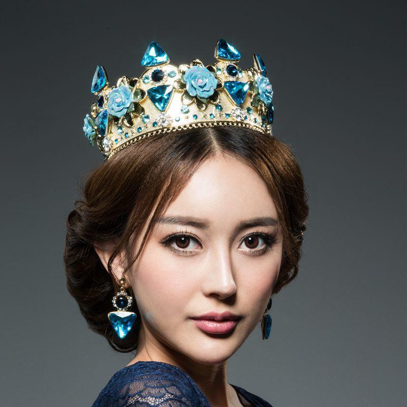Compre royal blue rhinestones beaded wedding crowns alta qualidade ver imagem maior junglespirit Images