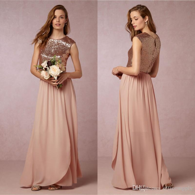 df6c39fcc6b9 2018 Elegant Blush Pink Two Pieces Bridesmaid Dresses Sequins Top Wedding  Maid Of Honor Gowns Prom Party Dress Merlot Bridesmaid Dresses Modest  Bridesmaids ...