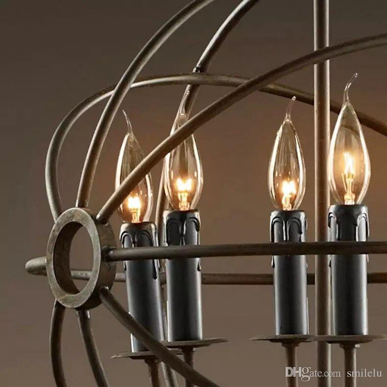 RH Illuminazione Restauro Hardware Lampada a sospensione vintage Ferro di Foucault Lampadario in ferro Ferro rustico RH Lampada a sospensione a soffitto Stile globo 50cm 65cm