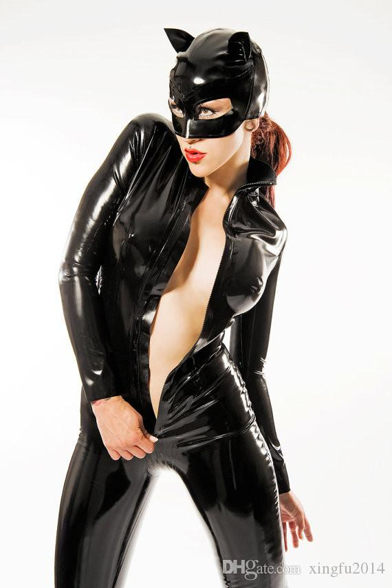 2017 Hot Sexy Black Catwomen Jumpsuit PVC Spandex Latex Catsuit Costumes for Women Body Suits Fetish Leather Dress Plus Size L-XXL