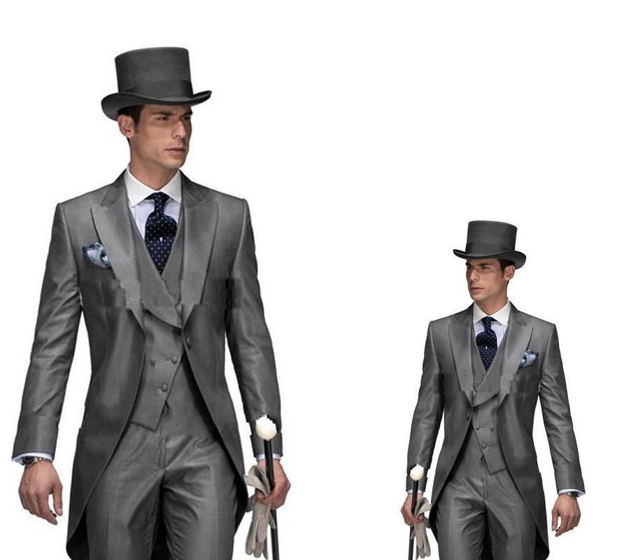 2016 di alta qualità fracasso sposo smoking smoking con visiera bavero su misura ben vestito bel matrimonio formale vestito giacca + pantaloni + vest + cravatta