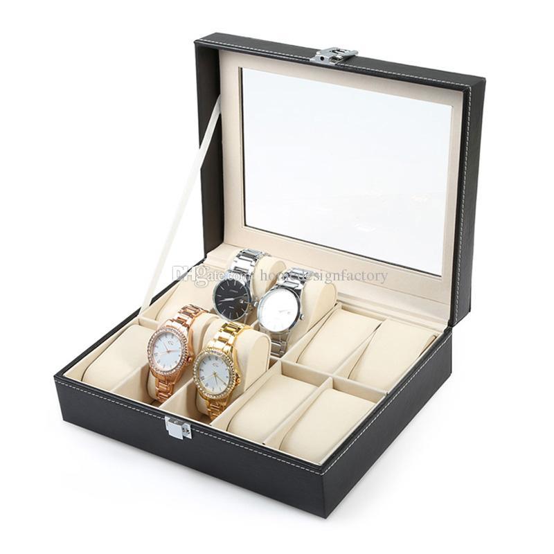 10 Grid Wooden Watch Display Slot Case Box Jewelry Storage Organizer Windowed Case Wristwatches Storage Box