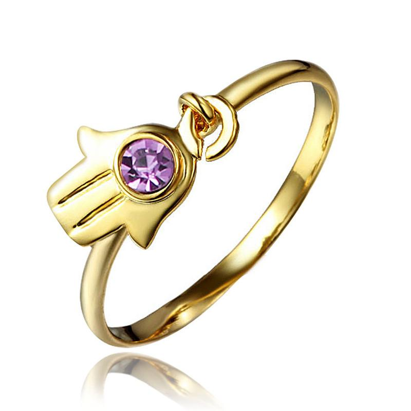 2018 Little Hand Design Yellow Gold Plated Ring For Teen Girl From ...