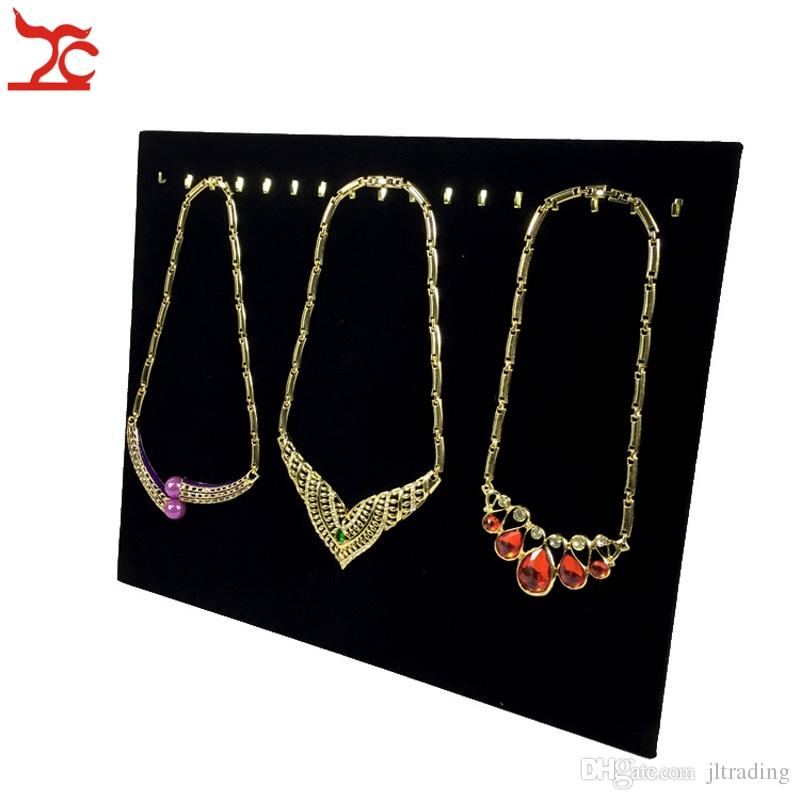 b4a9ab845 2019 New Black Velvet Necklace Bracelet Chain Display Holder Easel 17 Hooks Pendant  Organizer Storage Display Stand 37*30cm From Jltrading, $11.06 | DHgate.