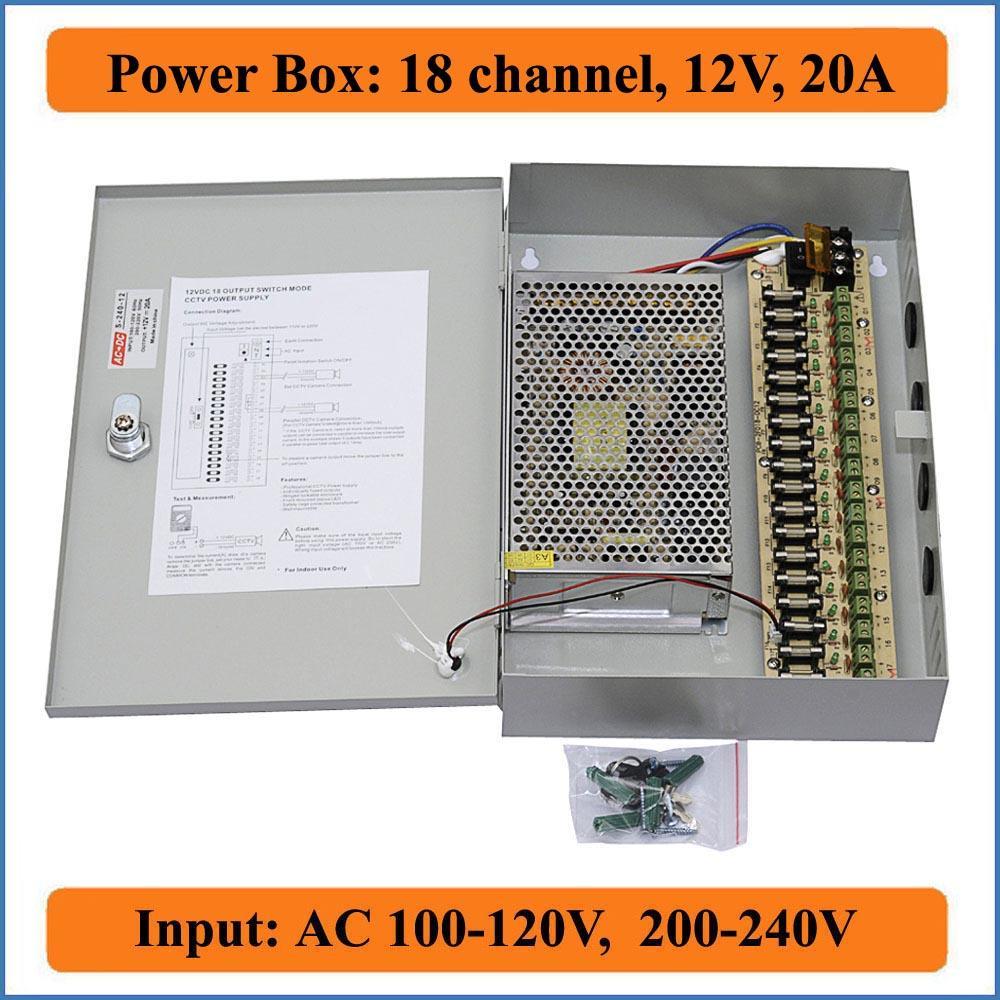 18 canales DC12V 20A Cámara CCTV Caja de potencia CCTV PTC Caja de fuente de alimentación conmutada distribuida para cámara de video de seguridad Puerto 18CH