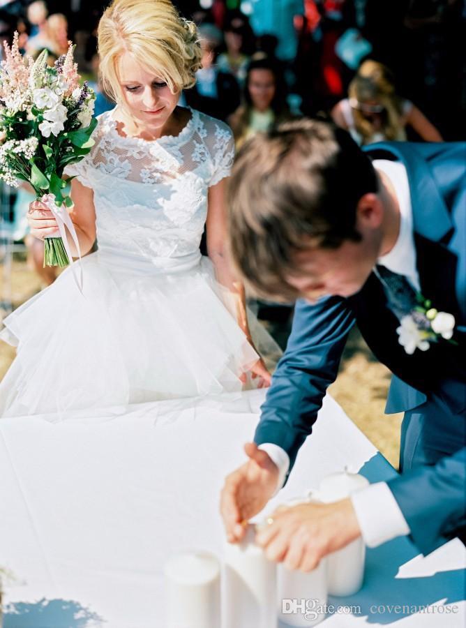 Short High Low Wedding Dress with Detachable Train 2016 Cap Sleeve Lace Hi Lo Wedding Dresses Removable Skirt Vintage Cheap