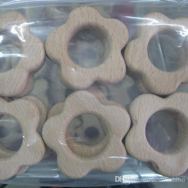 Sin terminar orgánica de madera de haya Mordedor elefante gratuito Mordedor Clip Anillo Chupete clip encanto del elefante de enfermería Cuentas de madera Collar de bricolaje
