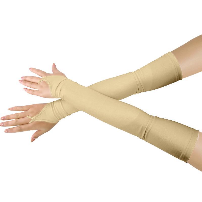 Ensnovo Womens Lycra elástica sin dedos sobre el codo Opera Long Spandex Gloves 18 pulgadas Apparel Accessories Cosplay Custom