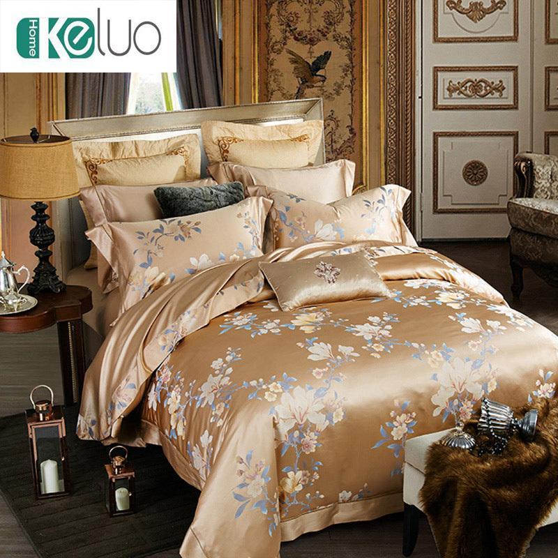 Keluo Jacquard 100% Silk Bedding Set Mulberry Silk Bedding Set Blossom  Seamless Duvet Cover Set 22 Momme Camel Bedding Linen Duvet Cover Full From  ...