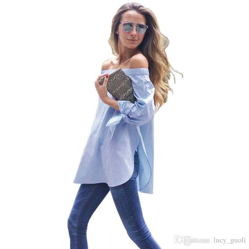 07b2350b1 Compre Manga Larga Elegante Arco Azul Fuera Del Hombro Camisa Blusa  Femenina Verano Sexy 2016 Muchachas Blusa Blanca Mujeres Tops Blusas A  Rayas Camisa ...