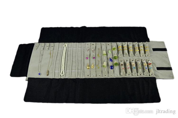 Fornitura di fabbrica di marca multi-funzionale in velluto gioielli display catena collana anello orecchino stud caso di archiviazione pieghevole gioielli viaggio borsa rotolo