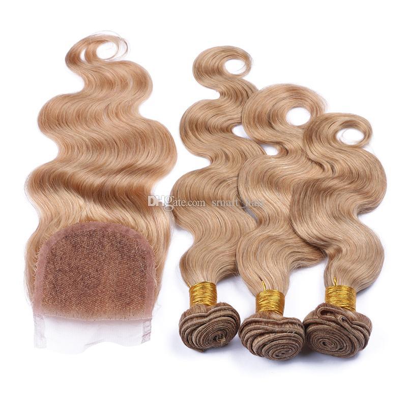 9A capelli brasiliani dell'onda del corpo 3 pacchi umani con chiusura in pizzo 4 pezzi / lotto miele biondo # 27 tesse i capelli con chiusura superiore 4x4