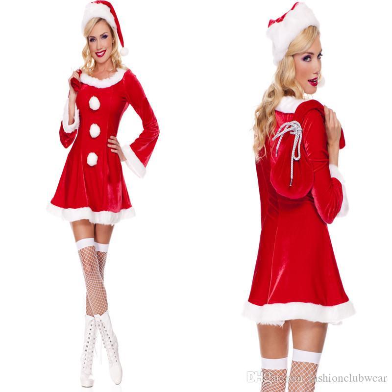 Chegada nova Feminino Sweety Festa de Natal Traje Cosplay Sexy Mulheres De Veludo Vermelho Uma Linha Vestido Carnaval Traje Vestido Extravagante