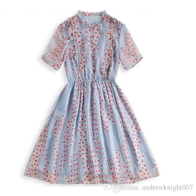 Женщины элегантный новый летний красный сердце печатных кнопка О-образным вырезом a-line платья большой подол шифон платье партии бальное платье Vestidos Femininos плюс размер