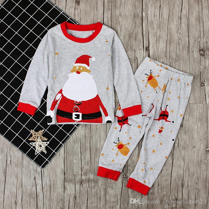 INS Roupas de Bebê Meninos Meninas Natal Papai Noel Pijama Crianças Outono Manga Longa Tops + Calças Impressas Conjuntos de Natal