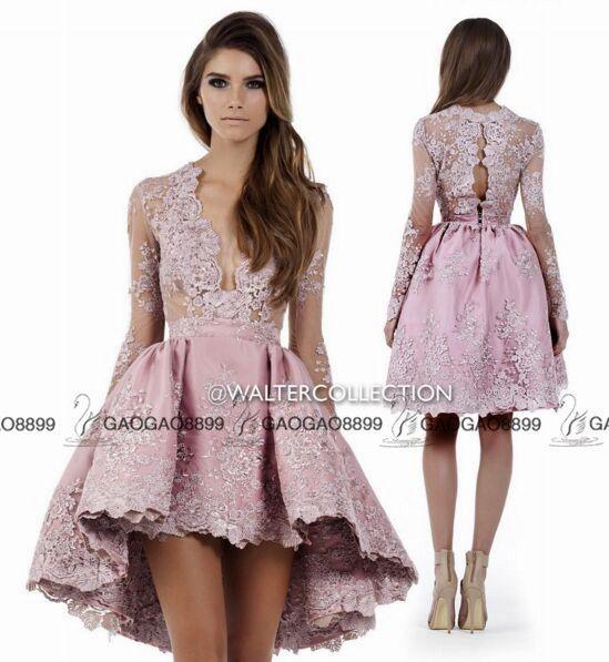 월터 컬렉션 높은 낮은 레이스 긴 소매 무릎 길이 파티 파티 공식 드레스 2019 진짜 사진 진주 핑크 레이스 저렴한 홈 커밍 드레스