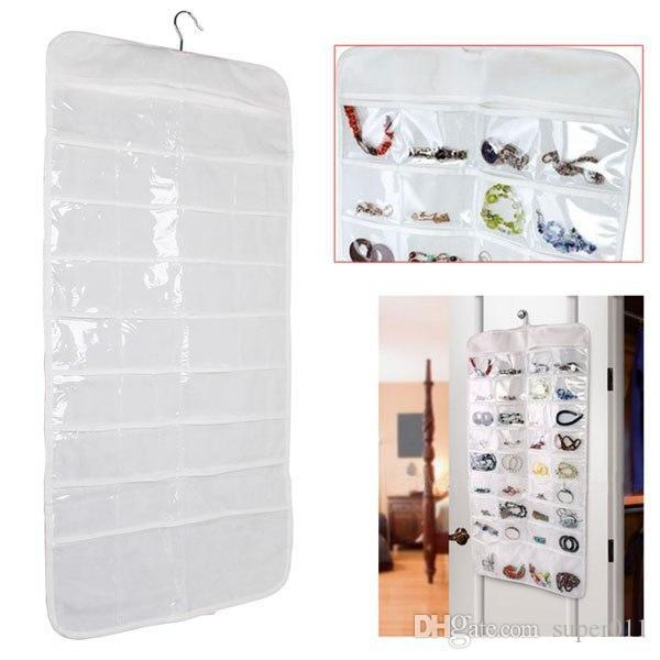 Double Sided 72 Pockets Hanging Jewelry Organizer Display Earring
