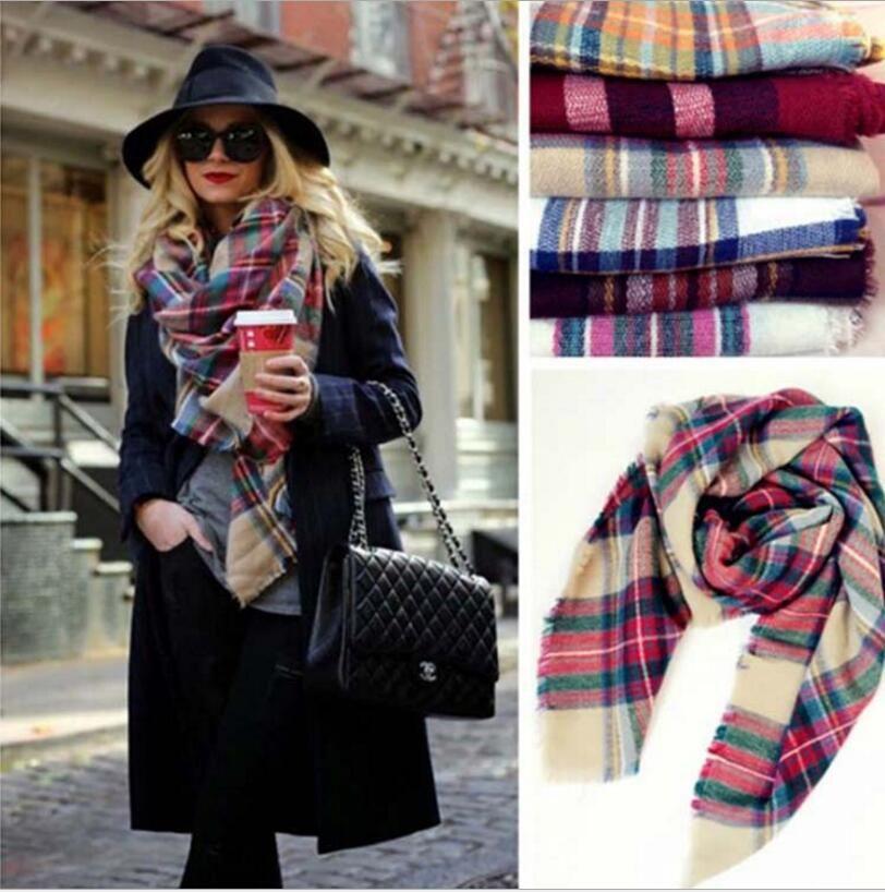 women fashion plaid scarves warm soft winter blanket pashmina scarf oversized tartan scarf women shawl scarf scarves wraps christmas hijab bandana from - Christmas Plaid Scarf