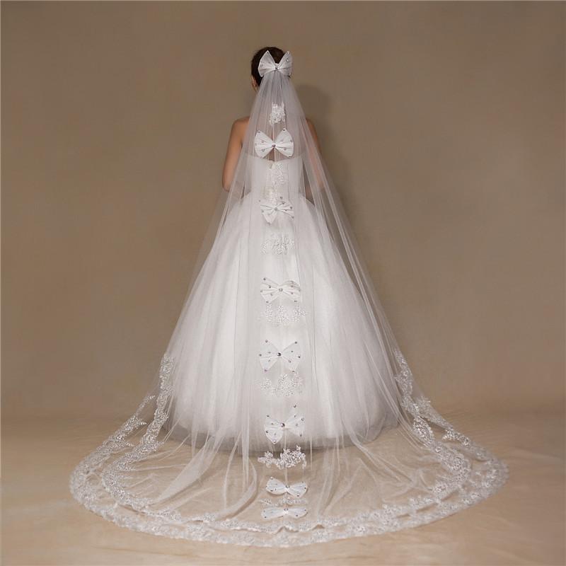 Bianco Vintage Economico Tulle Bride Cathedral Lungo Merletto da sposa Veli di nozze 3 metri Velos de Novia Voile Mariage con fiocco