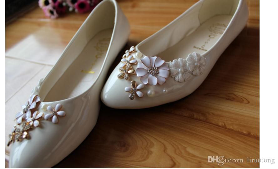 Handmade Princess White Pearl Wedding floral flat shoes with single 3cm 5cm 8.5cm Xieping Bride Bridesmaid shoes