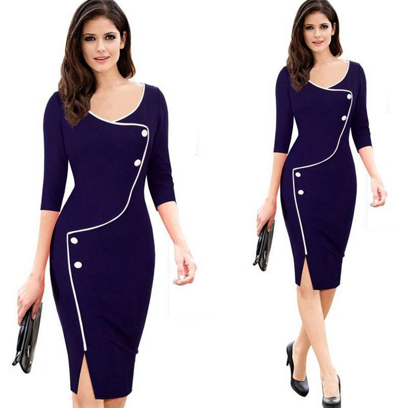 2019 2016 New Sale Autumn Dresses For Ladies Formal Clothes Three Quarter  Sleeve Knee Length V Neck Women S Pencil Dress Work Fashion S 3xl From ... f2beeea6e5a9