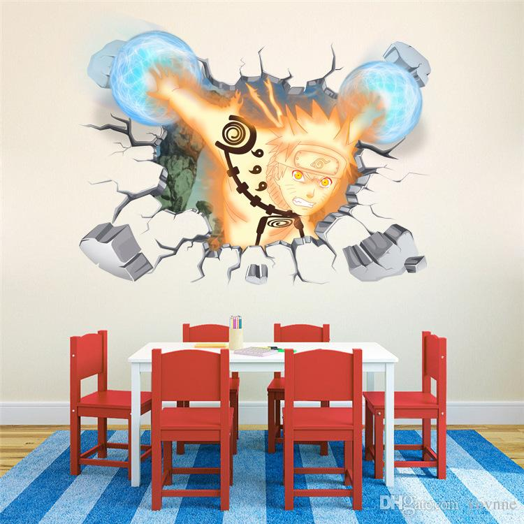 60*90cm Large Size 3d Wall Stickers Cartoon Naruto Design Children Bedroom  Wall Decoration Waterproof Stickers Wallpaper Stickers For Walls Decoration  ...