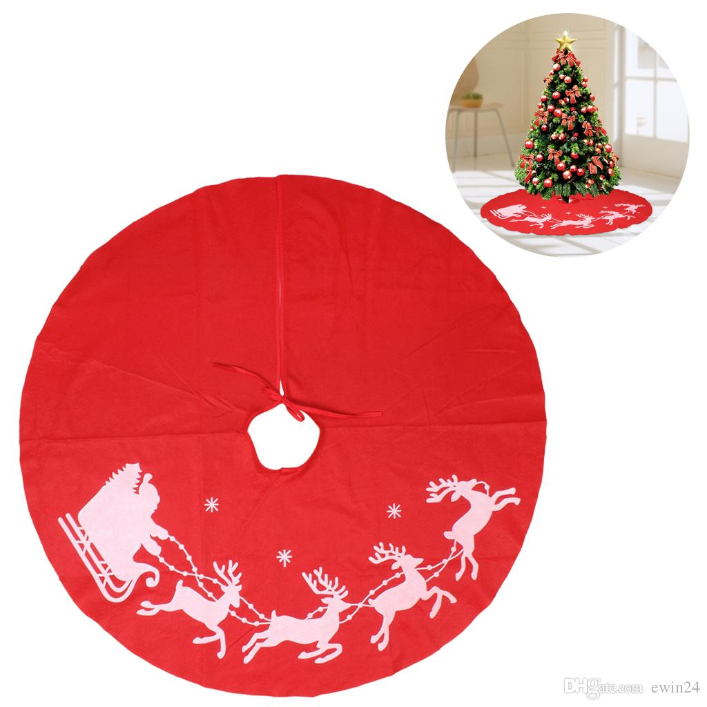 Elegant Christmas Tree Skirts.100cm Skirts Christmas Tree Decoration Elk Red Round Cover Non Woven Fabric Wedding Party Holiday Supplies Wholesale Elegant Christmas Decorations