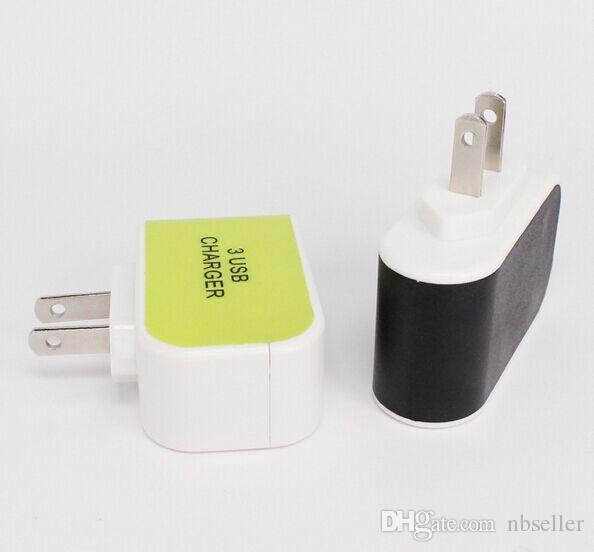 3 Port USB Güç Adaptörü Şarj yayan Işık iPhone 6 Samsung S7 için 5V 3.1A ABD, AB Duvar Şarj Ev Plug açtı