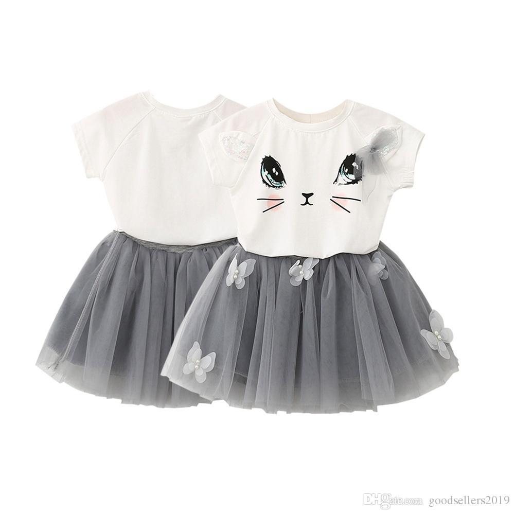 2018 New Kids Girls Cat T Shirts Net Veil Tutu Skirt Short Sleeve