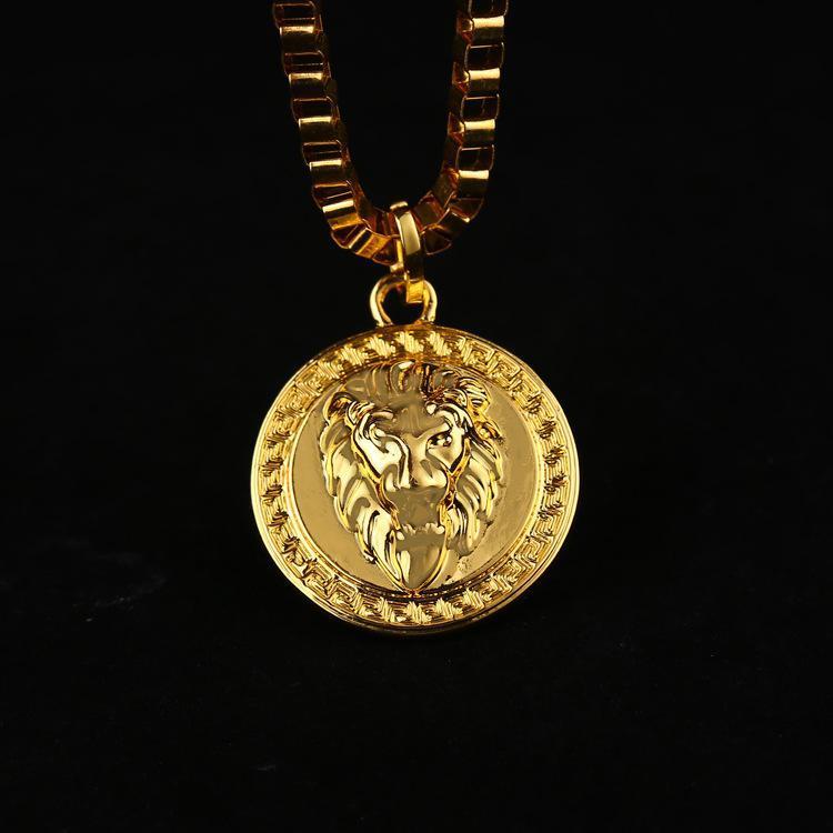 2019 Hot 18k Gold Plated Lion Medallion Head Pendants