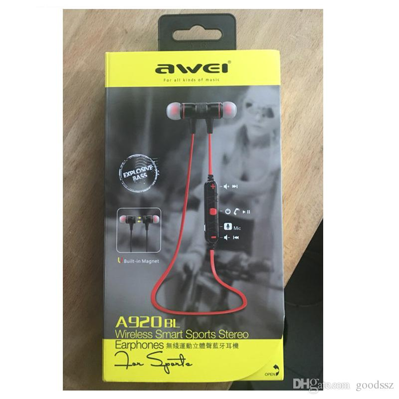 Awei A920BL 무선 블루투스 헤드폰 스테레오베이스 헤드셋 스포츠 아이폰에 대 한 마이크와 이어폰 이어폰 7 6 삼성 스마트 폰