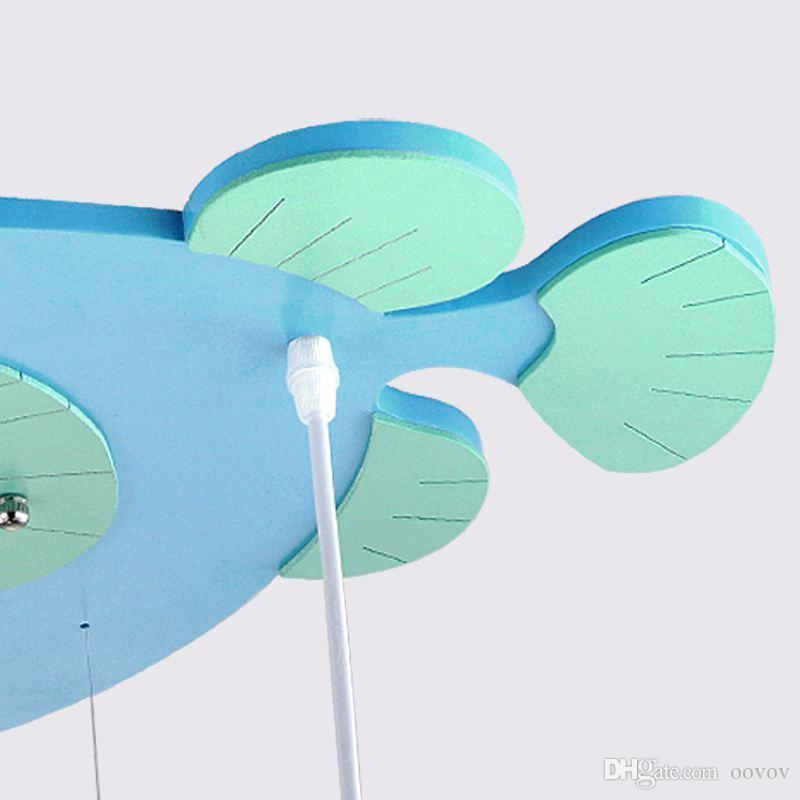3 Lights Wooden Cartoon Fish Child Bedroom Ceiling Lights Baby Room Pendant Lamps Kids Room Ceiling Pendant Lamp