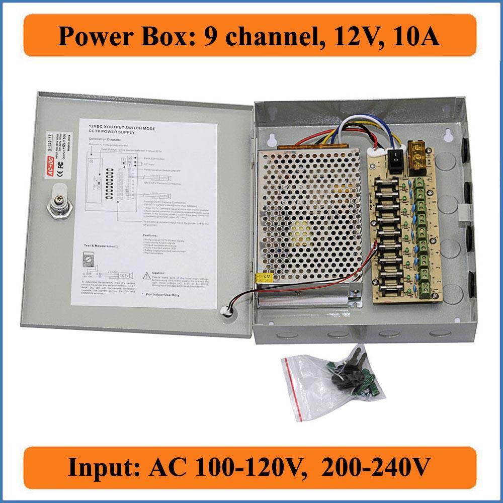 9 channels DC 12V 10A CCTV Camera Power Box Switching Power Suply BOX for CCTV Video Camera 9CH Port Inout AC 100-240V to DC 12V