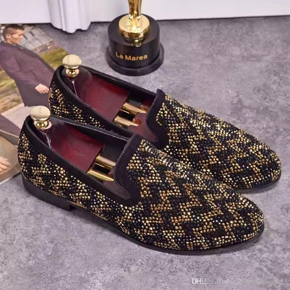Fashion Mixed Color Rhinestone Autumn New Men Loafers Slip On Flat ... 32a23c35f74d