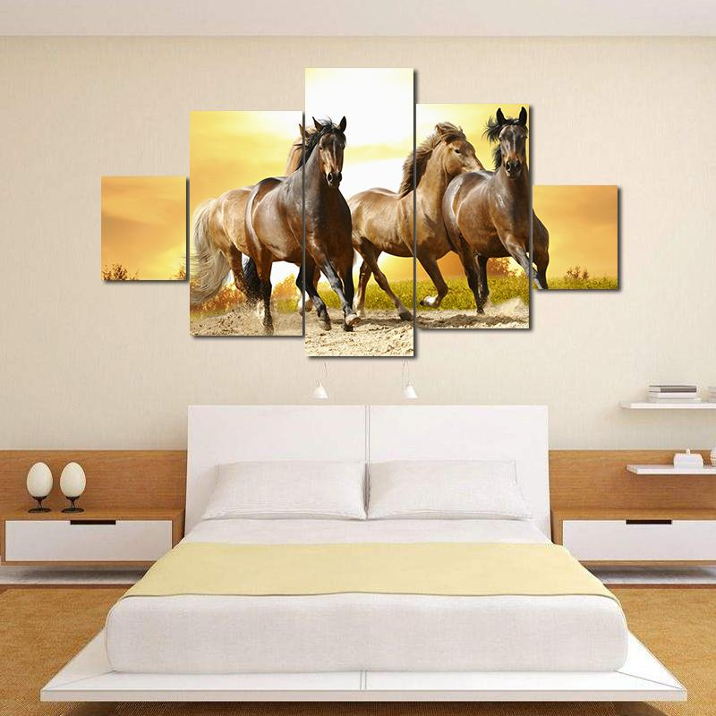 2018 Unframed Modern Oil Painting Flying Horse At Sunset Huge Wall