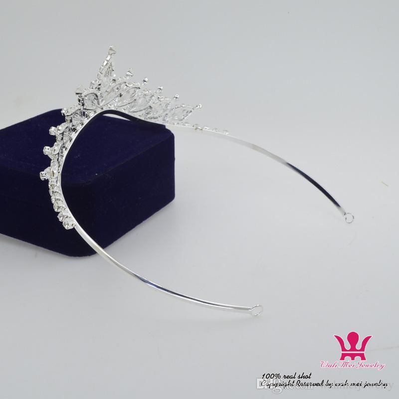 Diamantes de imitación de cristal nupcial boda Tiaras corona hechos a mano Princesa reina accesorios para el cabello diadema clips de la flor Pretty Girls niño tiara Km192