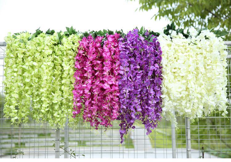 Branco Verde Flores Artificiais Simulação Wisteria Vinha Decorações De Casamento Longo Planta De Seda Bouquet Porta Quarto Escritório Jardim