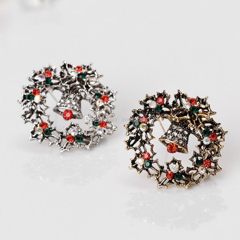 Brand New Christmas Brooch Vintage Alloy Rhinestone Christmas Bells Wreath Brooches Antique Gold and Sliver Plated DHL