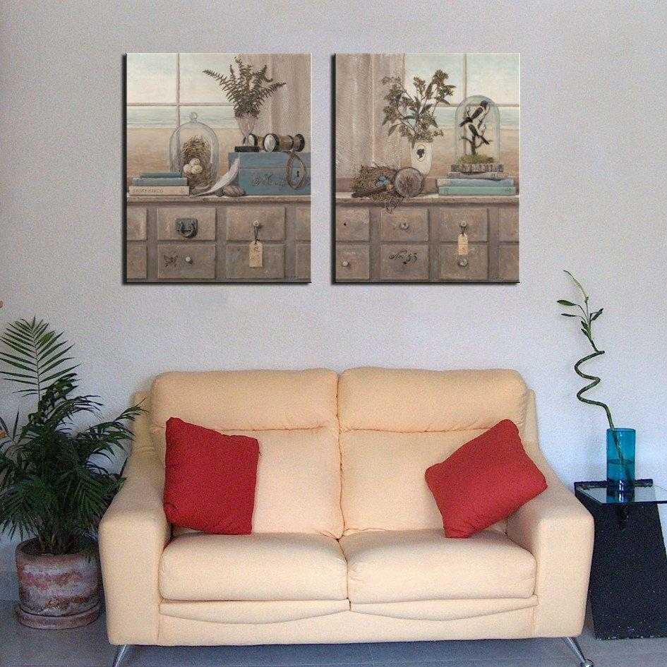 Unframed 2 Pieces Free Shipping Canvas Prints bird nest potted flower windowsill globe Shower Buddha rose Coffee specimen Home decoration