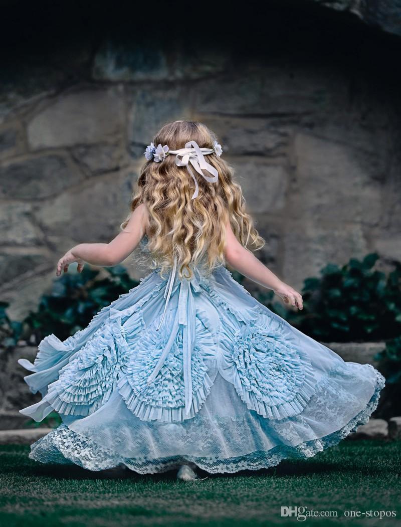 Abiti da sposa ragazza di fiore vintage Halter Principessa Kids Birthday Party Gowns Design unico 3D fatto a mano fiori pizzo ragazze spettacolo Dress