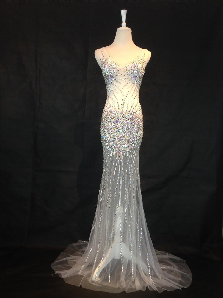 스파게티 브이 넥 비즈 크리스탈 인어 댄스 파티 이브닝 드레스 2016 등뼈없는 긴 파티 드레스 맞춤 제작