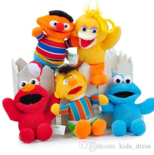 Sesame Street Elmo Stuffed Plush Dolls Brinquedos Keychain Anime Cute Soft  Plush Stuffed Toy Doll Keychain Pendant 14cm KKA3102