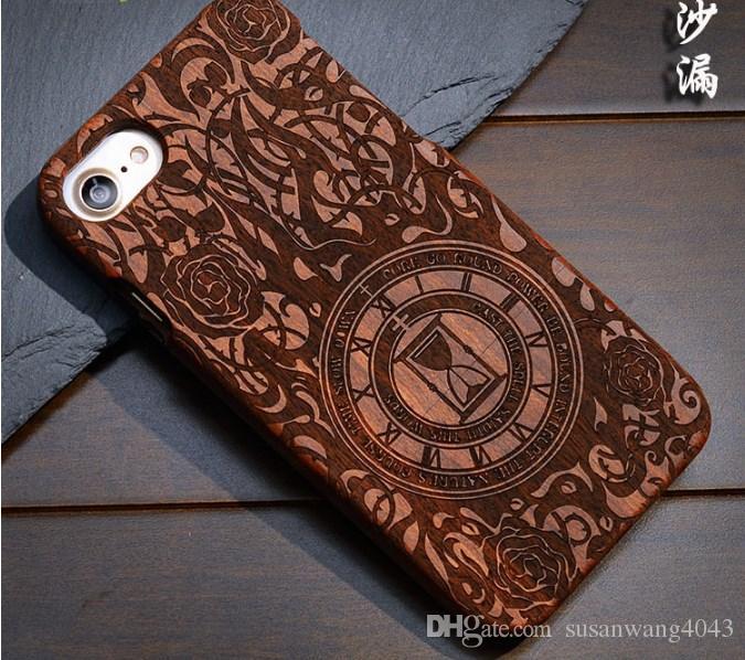 Caixa de madeira maciça esculpida para iphone x iphone 8 7 6 6 s plus 5S se protetor de madeira caso capa caso jacarandá tampa traseira shell 2 peças gsz168