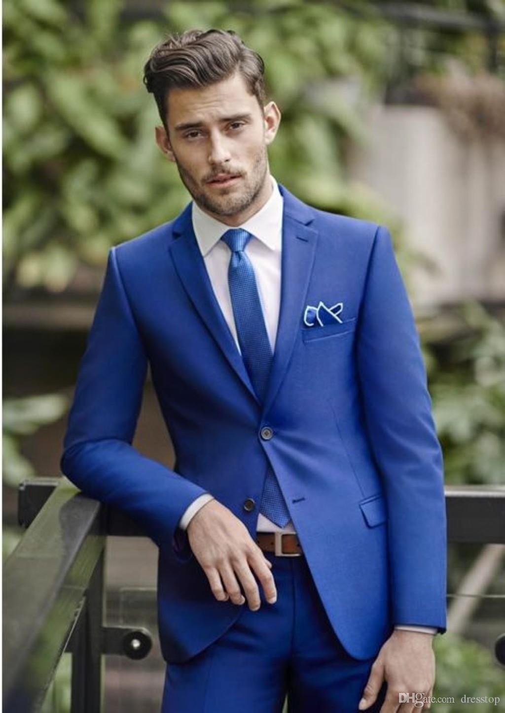Classy Blue Wedding Mens Suits Slim Fit Bridegroom Tuxedos