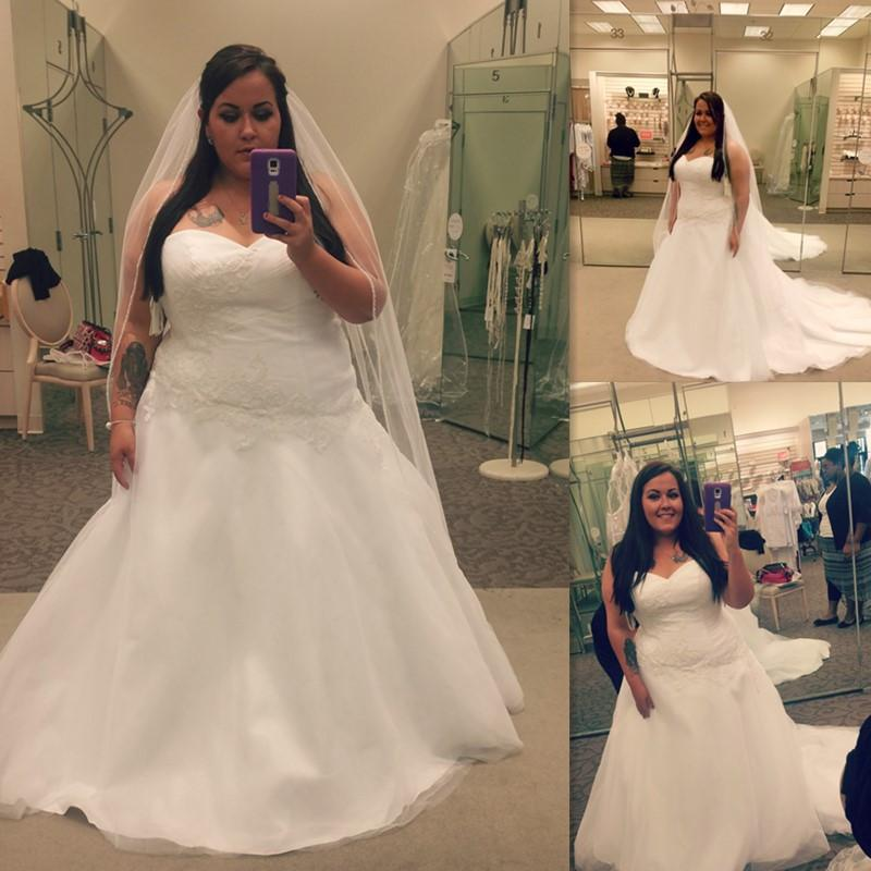 Discount Plus Size Wedding Dresses White A Line Sweetheart Tulle ...